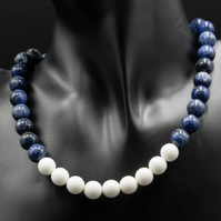 Sodalite and white agate gemstone necklace and earrings set
