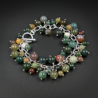 Indian agate natural gemstone charm bracelet - Gemini jewelry