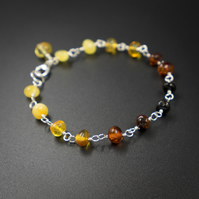 Baltic amber and sterling silver link bracelet , Leo gift