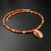 Carnelian and striped agate pendant necklace, leo, Virgo jewelry