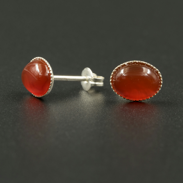 Carnelian and sterling silver stud earrings, Leo, Virgo jewelry