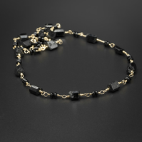 Black onyx, tourmaline and gold filled link chain necklace earring set