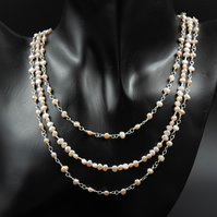 Pale pink freshwater pearl 3 strand necklace, natural pearl necklace