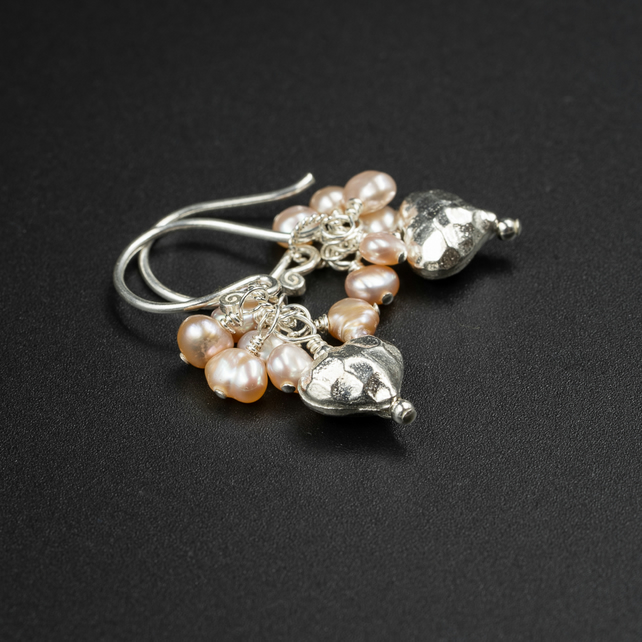 Natural pink freshwater pearl and silver heart earrings, pearl jewelry