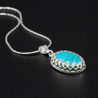 Natural turquoise and sterling silver pendant necklace, Turquoise jewellery