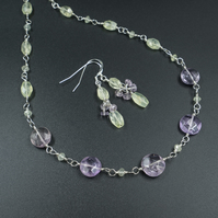 Prehnite, lavender amethyst necklace and earring set,