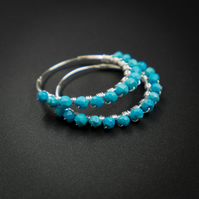 Natural turquoise and sterling silver hoop earrings, Turquoise jewellery