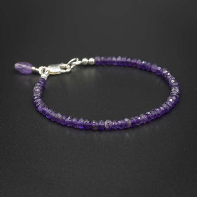 Amethyst and sterling silver layering bracelet, Pisces gift