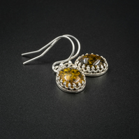 Green Baltic amber and sterling silver drop earrings, Leo gift