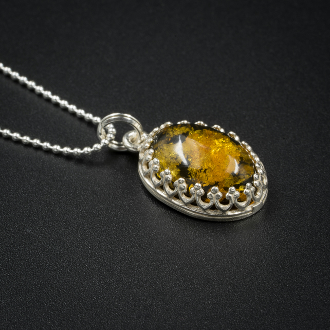 Green Baltic amber and sterling silver gemstone pendant necklace