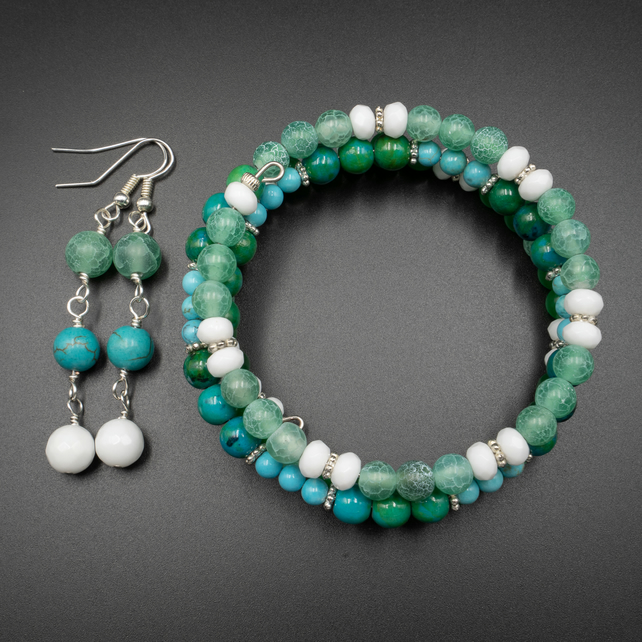 Turquoise, agate, chrysocolla gemstone bracelet and earring set