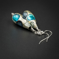 Venetian Murano glass and sterling silver blue teardrop earrings
