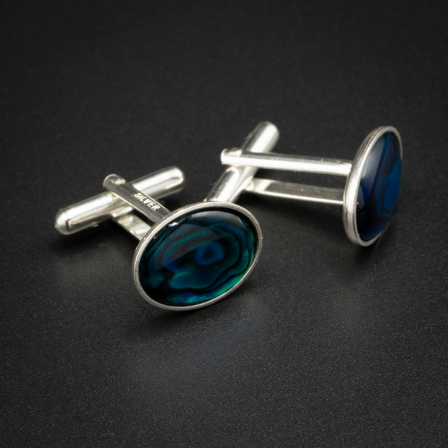 Blue Paua shell and sterling silver cufflinks, Mens gift