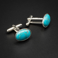 Turquoise and sterling silver cufflinks, Sagittarius gift