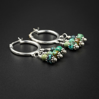 Natural turquoise hoop chandelier earrings , Turquoise jewellery