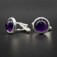 Amethyst and sterling silver cufflinks, Sagittarius gift