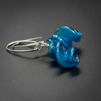 Venetian Murano glass and sterling silver blue drop earrings