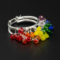 Swarovski crystal bead and sterling silver rainbow cluster hoop earrings