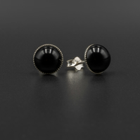 Black onyx and sterling stud earrings, Leo gift