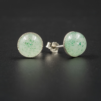 Green Aventurine and sterling silver gemstone stud earrings,Gemini jewelry