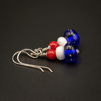 Blue red white sterling silver handmade lampwork earrings