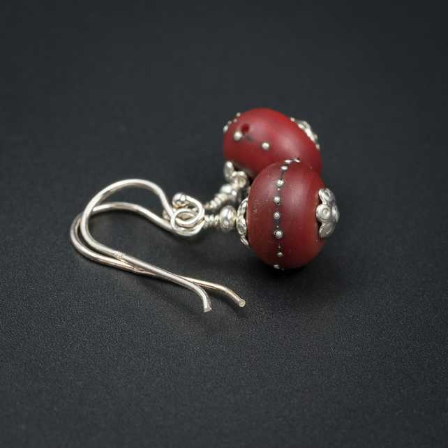Ruby red glass and sterling silver handmade lampwork earrings
