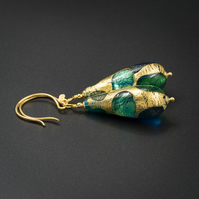 Venetian Murano glass and vermeil gold aqua teardrop earrings