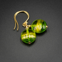 Venetian Murano glass and vermeil gold green drop earrings