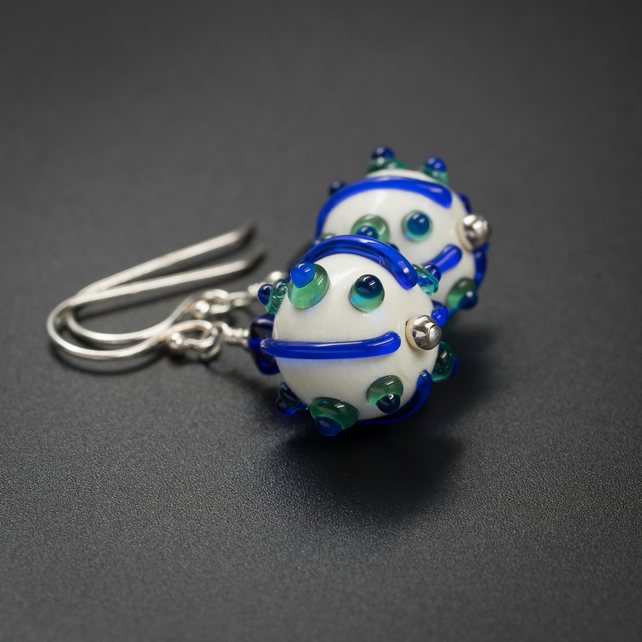 handmade lampwork glass and sterling silver sea urchin earrings