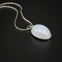 Blue lace agate and sterling silver gemstone pendant necklace, Gemini gift