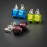 Venetian Murano glass, sterling silver blue , lime, amethyst cube drop earrings