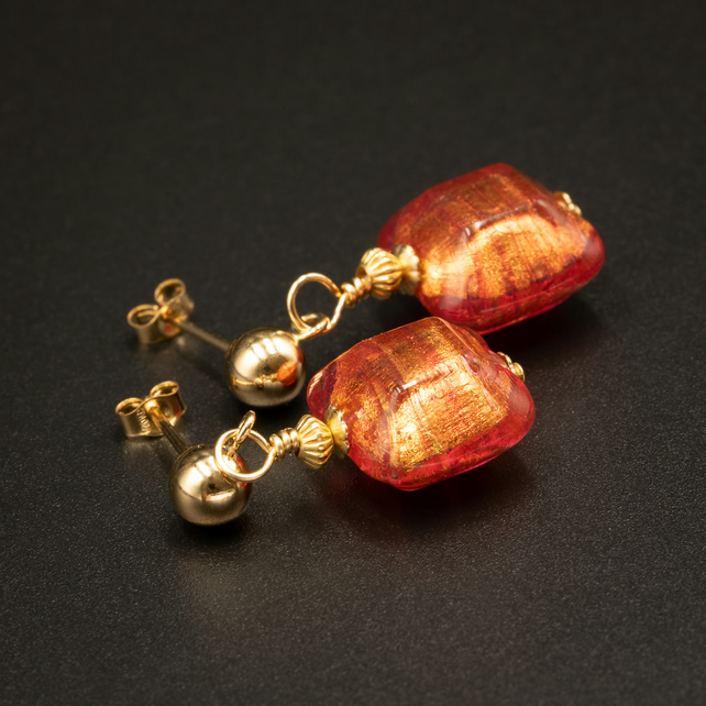 Venetian Murano glass and gold filled pink and gold stud drop earrings