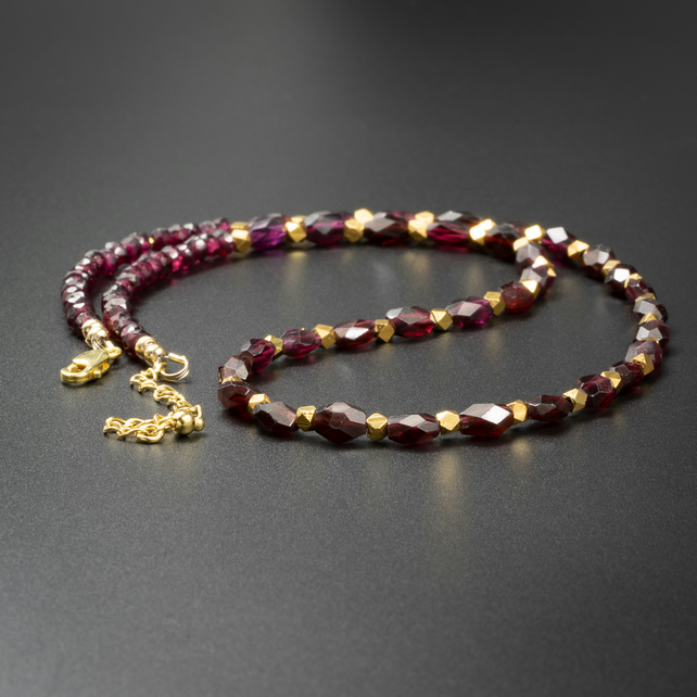 Garnet and gold gemstone necklace, Aries gift.