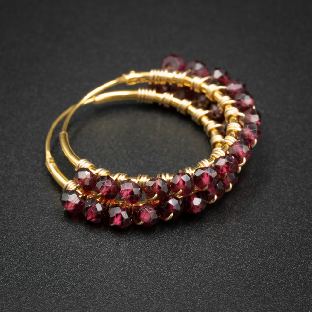 Garnet and gold gemstone hoop earrings, Aries gift.