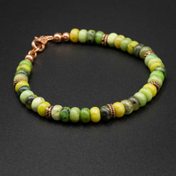 Natural chrysoprase and copper bracelet, Libra gift