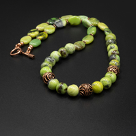 Natural chrysoprase and copper statement necklace, Libra gift