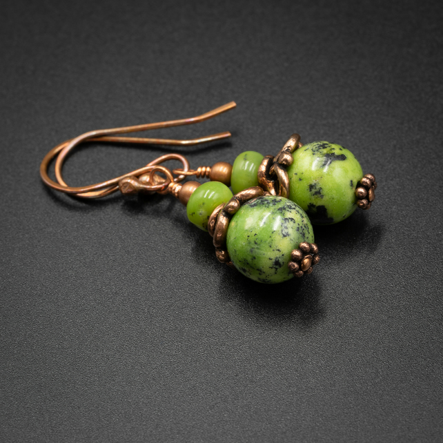 Natural chrysoprase and copper earrings, Libra gift