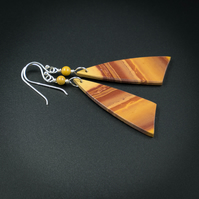 Mookaite and sterling silver handmade semiprecious stone long drop earrings