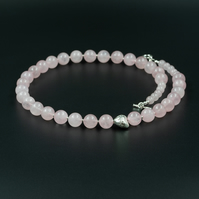 Rose quartz and Karen Hill silver gemstone necklace, Virgo gift