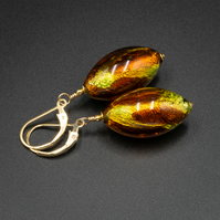 Venetian Murano glass and vermeil gold earthy tone earrings