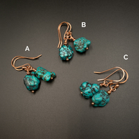 Natural turquoise and copper earrings, Turquoise jewelry