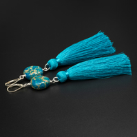 Turquoise sea sediment jasper long tassel drop handmade earrings, Jasper jewelry