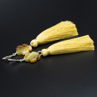 Carved jade flower long tassel drop handmade earrings, Taurus gift