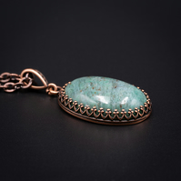 Jasper and copper handmade semiprecious stone pendant necklace, Pisces jewelry
