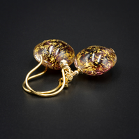 Amethyst and gold venetian murano glass earrings