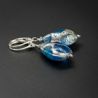 Venetian Murano glass turquoise and silver teardrop earrings