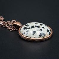 Dalmation jasper and copper handmade gemstone pendant necklace, Pisces jewelry