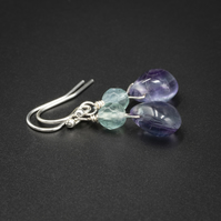 Fluorite sterling silver teardrop gemstone earrings, Pisces gift