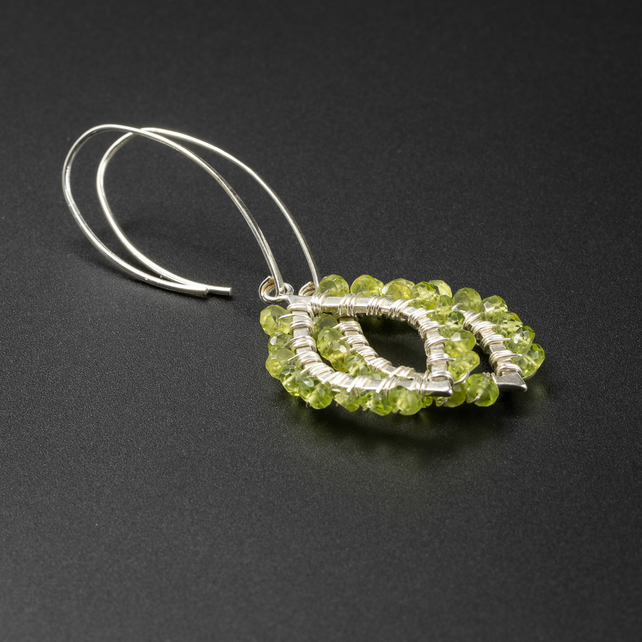 Peridot and sterling silver handmade boho leaf earrings, Leo, Libra gift