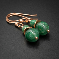 Green Jasper and copper boho earring drops, jasper and copper jewelry